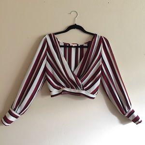 Tops - Striped long sleeve crop top